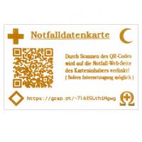 """Notfalldatenkarte """"ZWEISPRACHIG"""", mit indiv. QR-Code + URL zum Eintippen +  internationalen Notfallemblemen"""