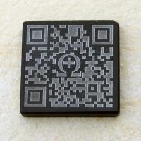 QR-Code Invers, schwarzer Marmor  47x47x5 mm